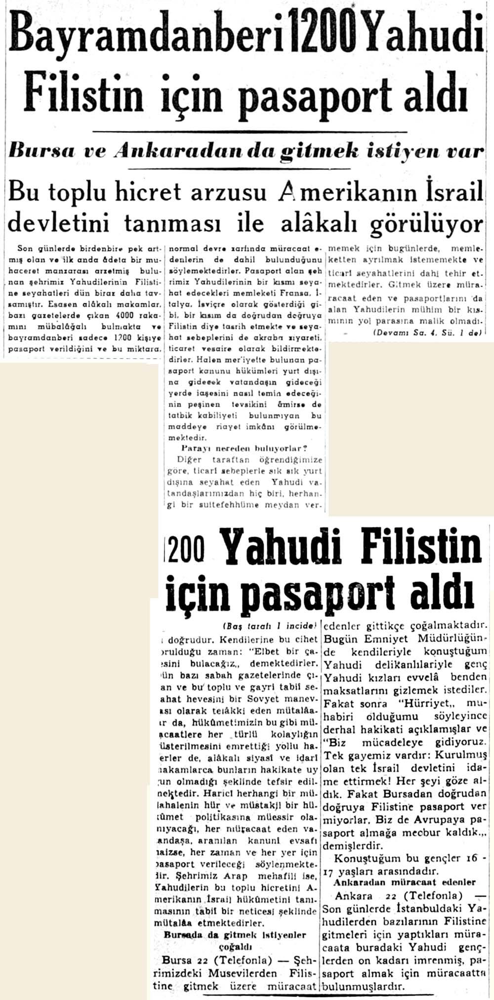 Bayramdanberi 1200 Yahudi Filistin için pasaport aldı