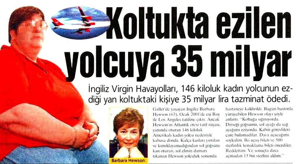Koltukta ezilen yolcuya 35 milyar