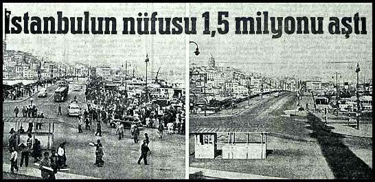 İstanbulun nüfusu 1,5 milyonu aştı