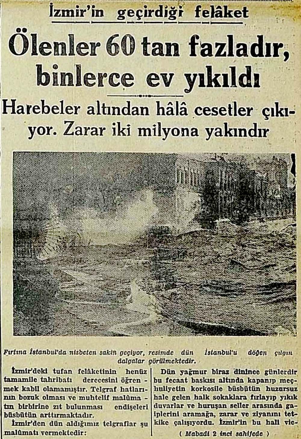 İzmir'in geçirdiği felaket