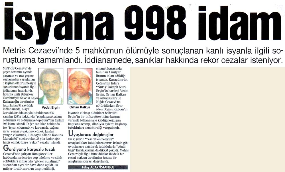 İsyana 998 idam