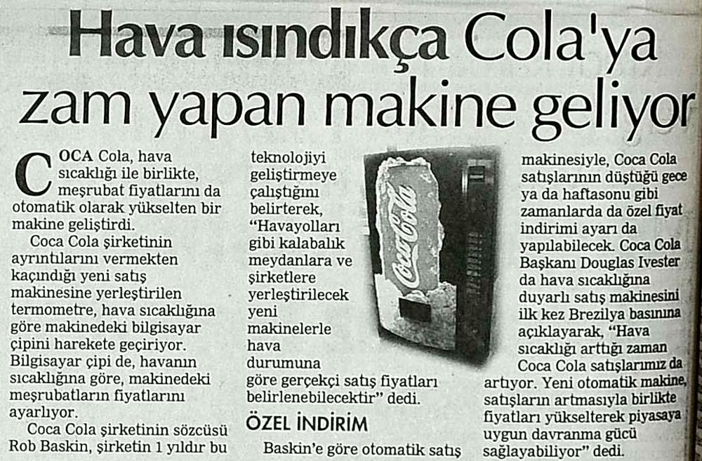 Hava ısındıkça Cola'ya zam yapan makine geliyor