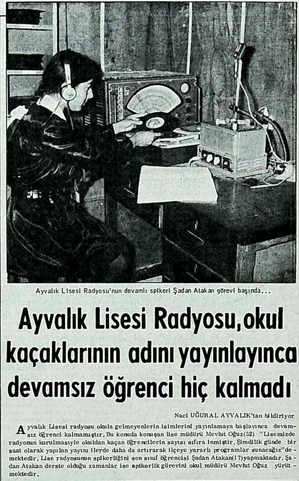 Ayvalık Lisesi Radyosu, okul kaçaklarının adını yayınlayınca devamsız öğrenci hiç kalmadı