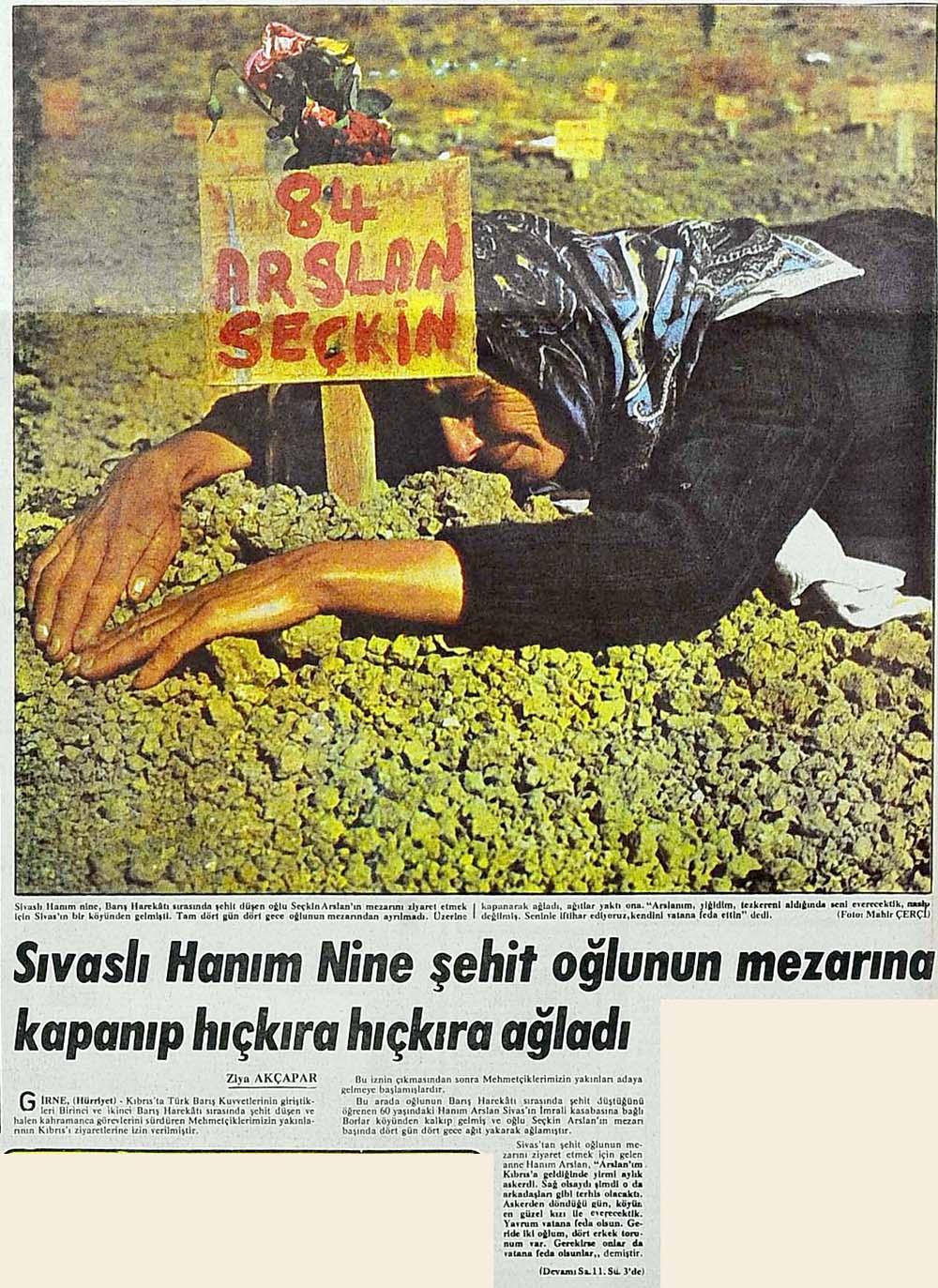 Sıvaslı Hanım Nine şehit oğlunun mezarına kapanıp hıçkıra hıçkıra ağladı