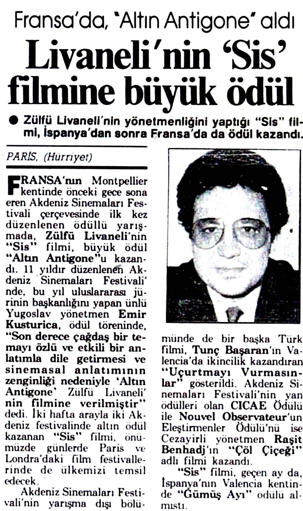 Livaneli'nin 'Sis' filmine büyük ödül