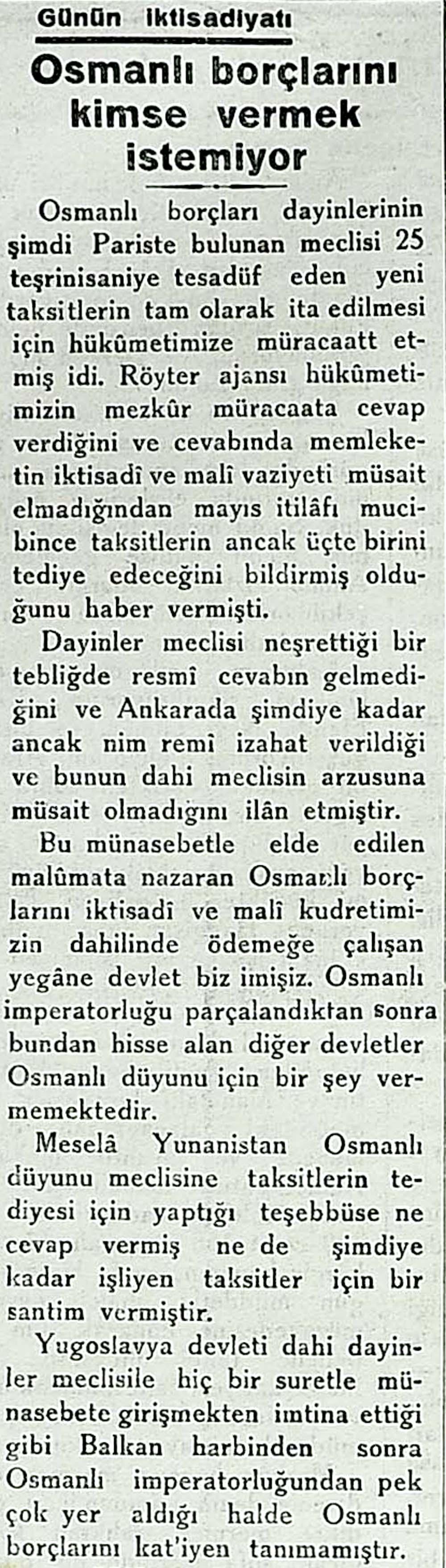 Osmanlı borçlarını kimse ödemek istemiyor