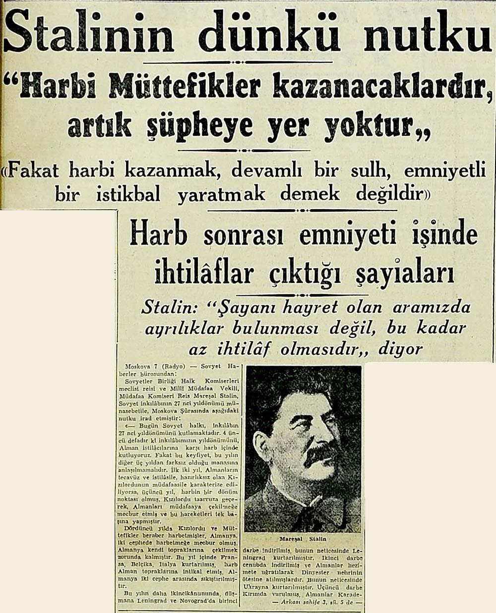 Stalinin dünkü nutku