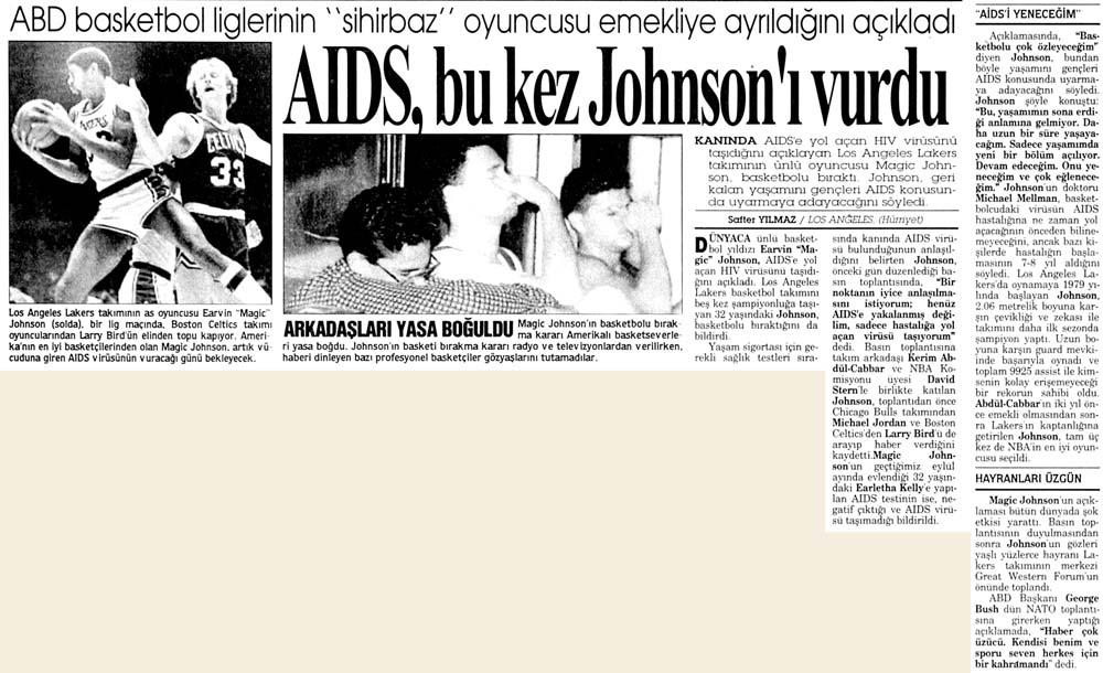 AIDS, bu kez Johnson'ı vurdu