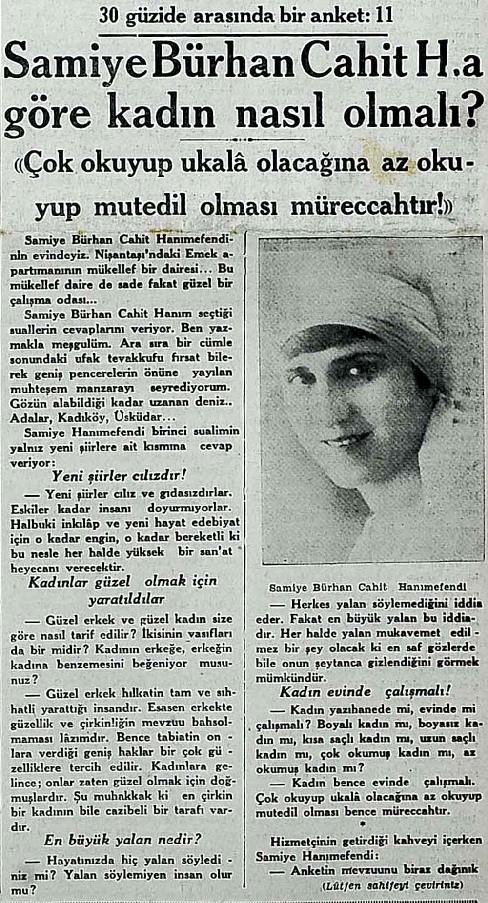 Samiye Bürhan Cahit H.a göre kadın nasıl olmalı?
