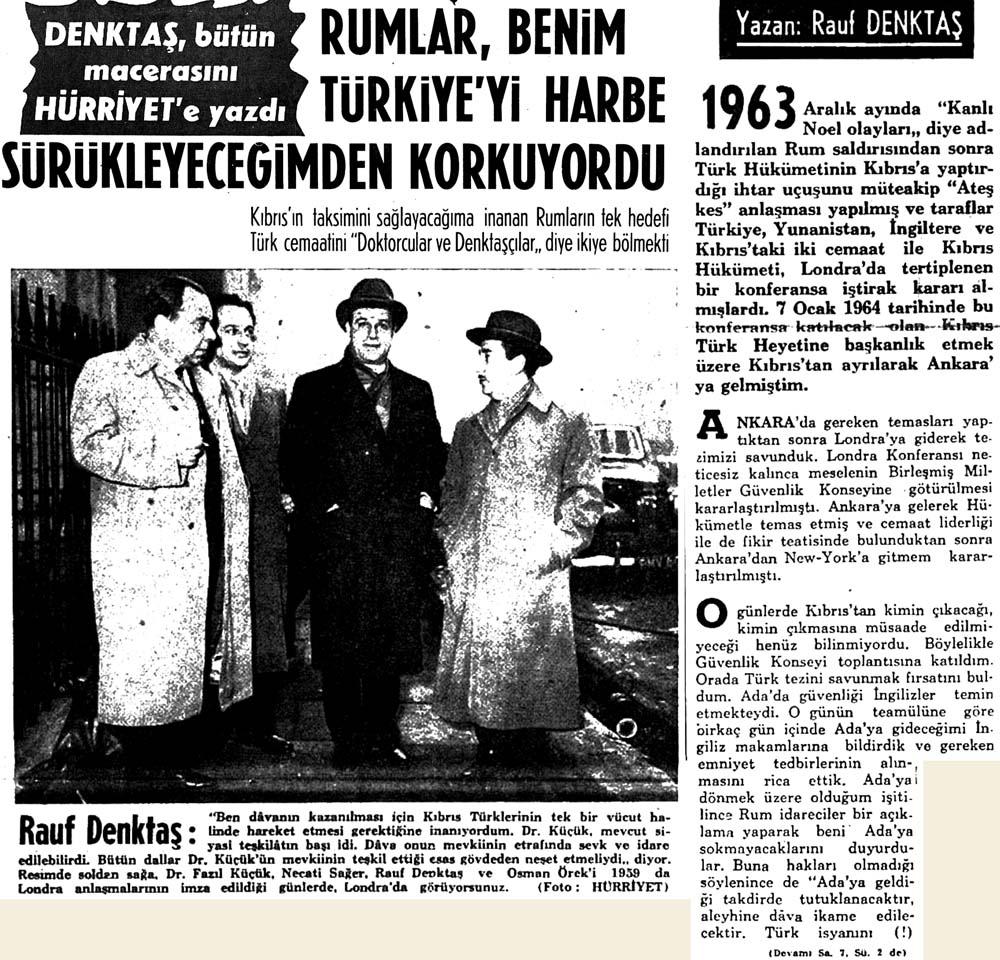 Denktaş, bütün macerasını Hürriyet'e yazdı