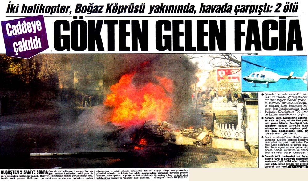 İki helikopter, Boğaz Köprüsü yakınında, havada çarpıştı: 2 ölü