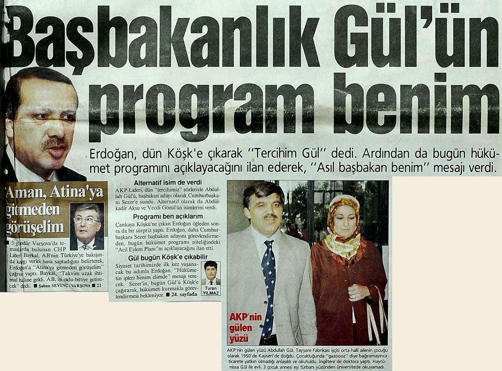 Başbakanlık Gül'ün program benim