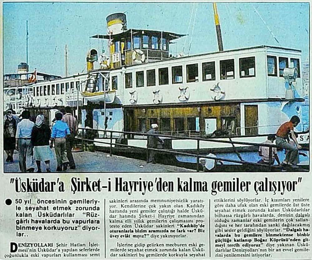 ''Üsküdar'a Şirket-i Hayriye'den kalma gemiler çalışıyor''