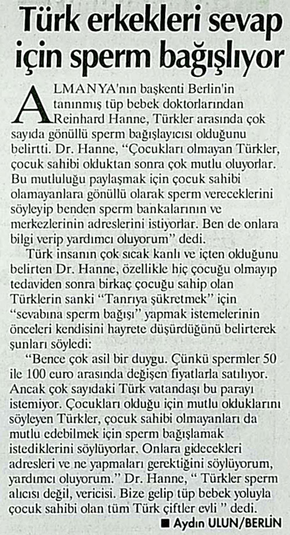 Türk erkekleri sevap için sperm bağışlıyor