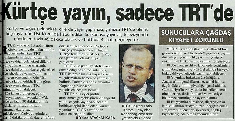 Kürtçe yayın, sadece TRT'de