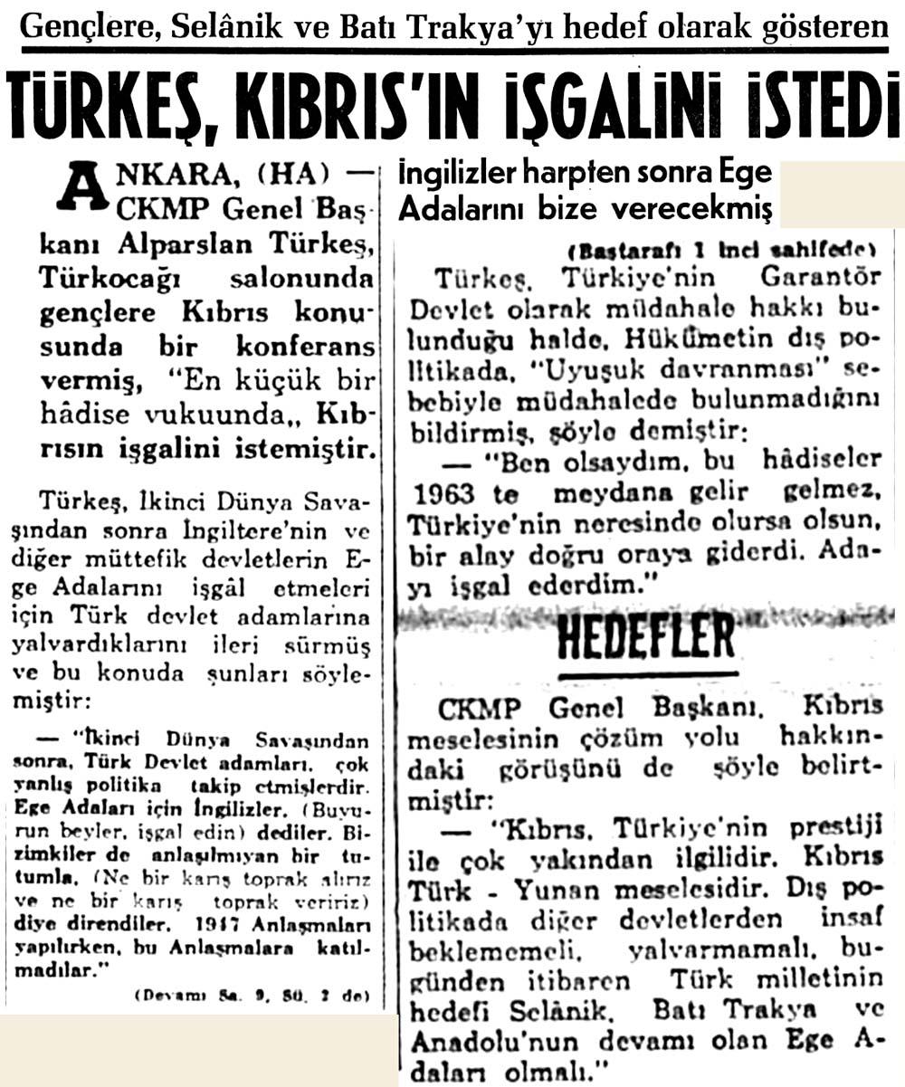 Türkeş, Kıbrıs'ın işgalini istedi