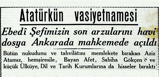 Atatürkün vasiyetnamesi