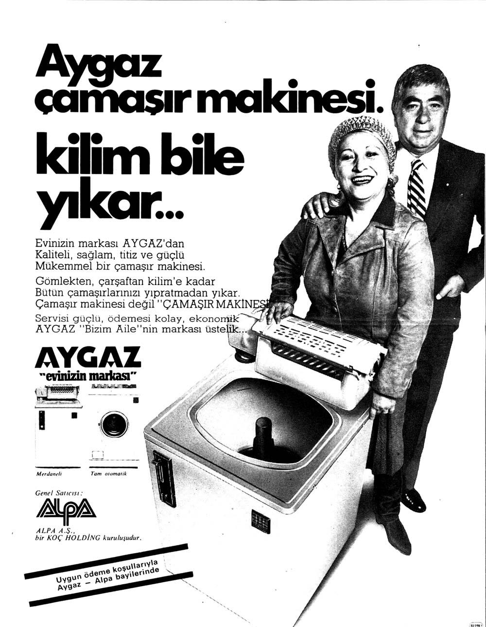Aygaz çamaşır makinesi kilim bile yıkar...