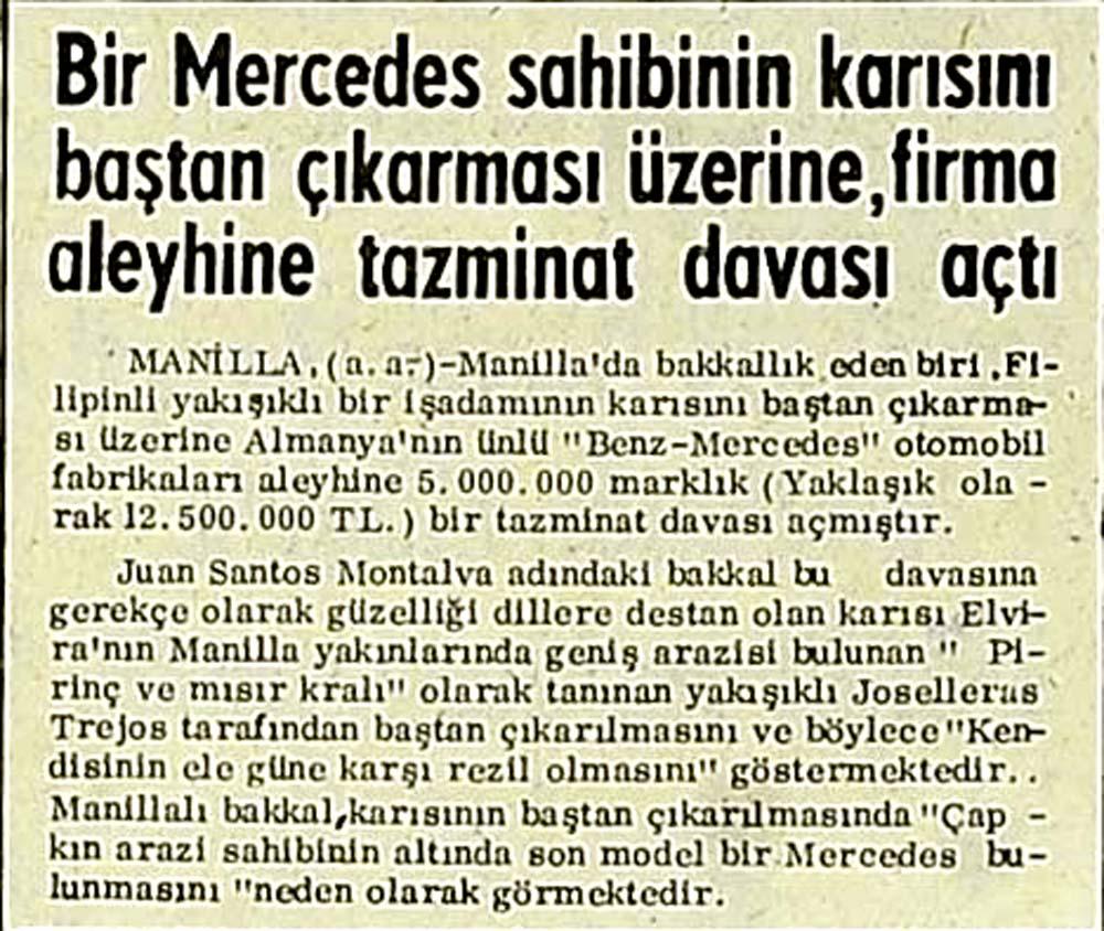 Bir Mercedes sahibinin karısını baştan çıkarması üzerine dava açtı