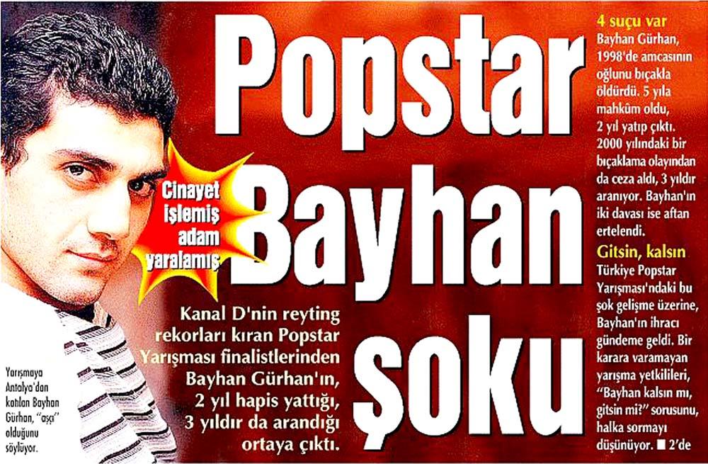 Popstar Bayhan şoku