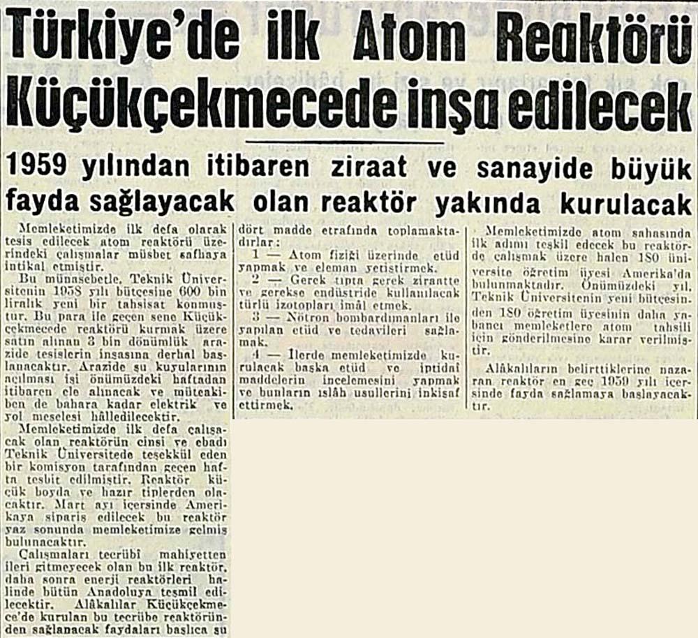 Türkiye'de ilk Atom Reaktörü Küçükçekmecede inşa edilecek