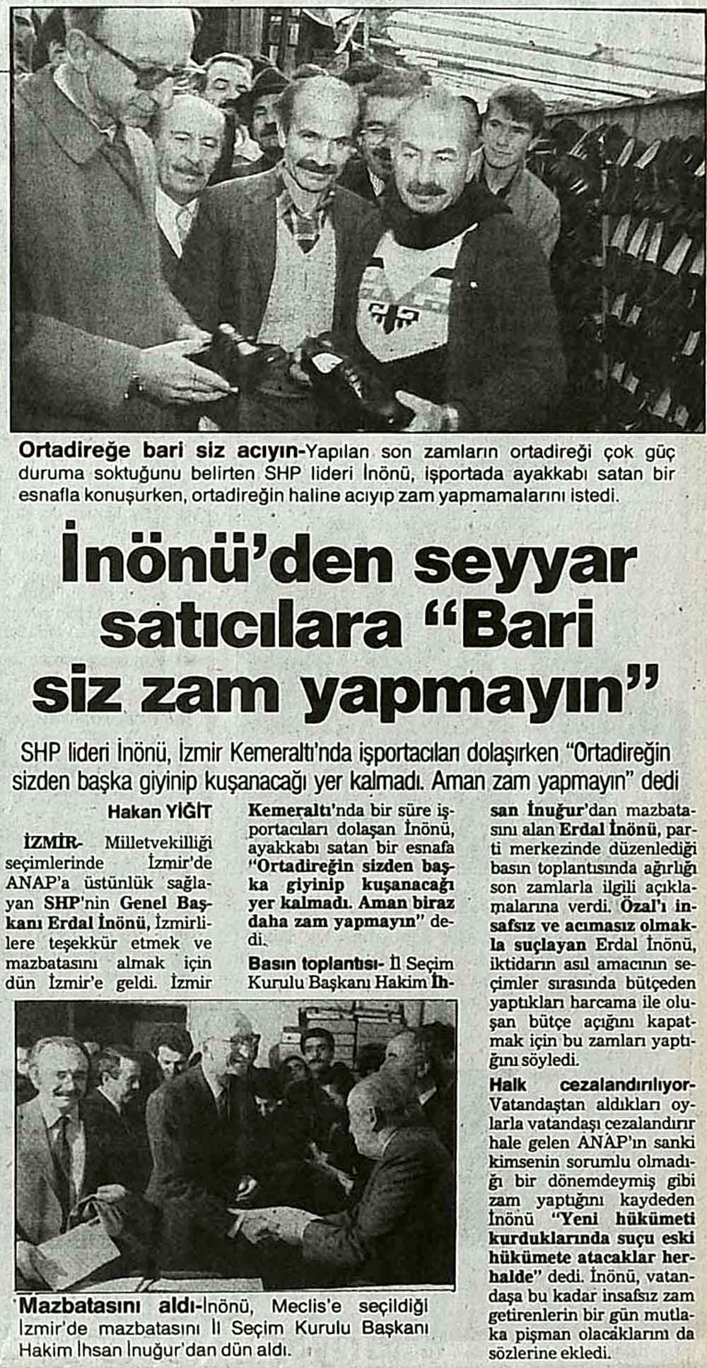 """İnönü'den seyyar satıcılara """"Bari siz zam yapmayın"""""""