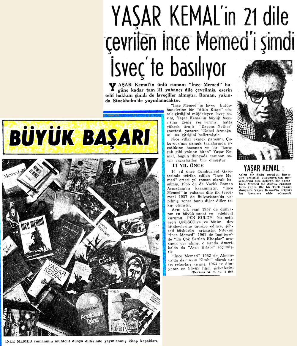 Yaşar Kemal'in 21 dile çevrilen İnce Memed'i şimdi İsveç'te basılıyor