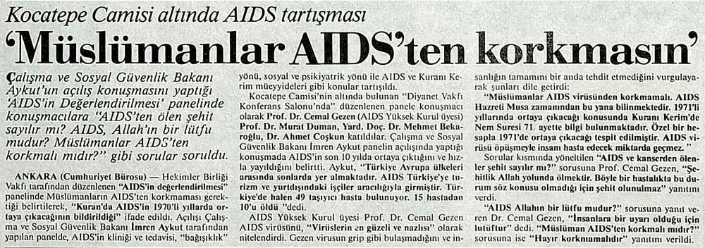 'Müslümanlar AIDS'ten korkmasın'