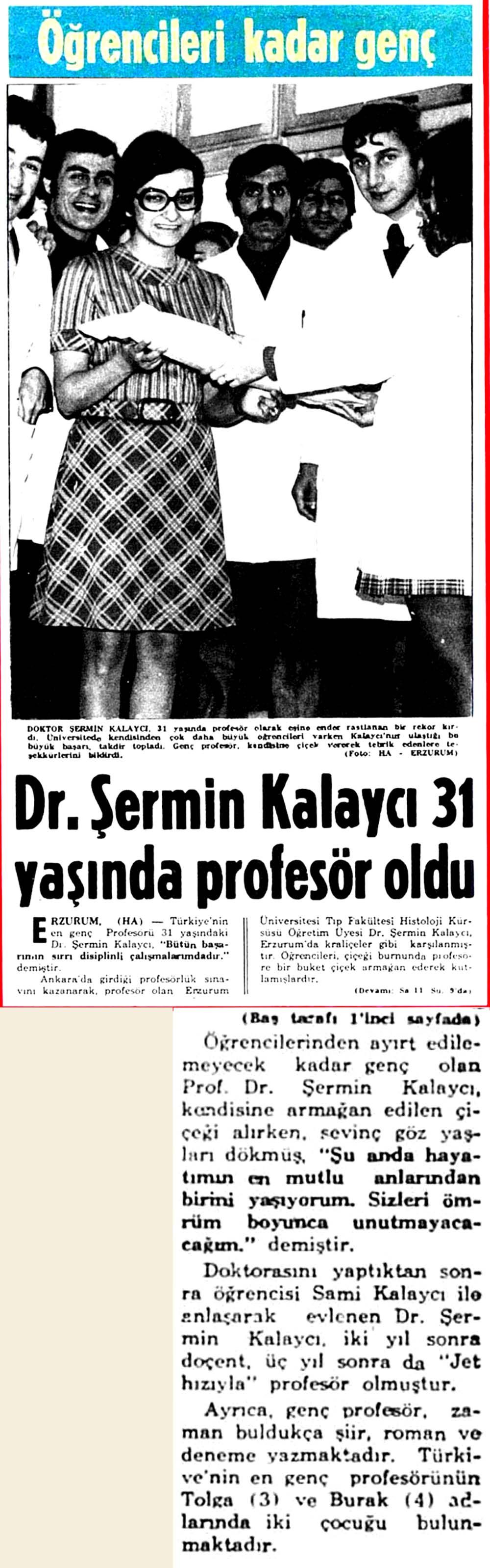 Dr.Şermin Kalaycı 31 yaşında profesör oldu