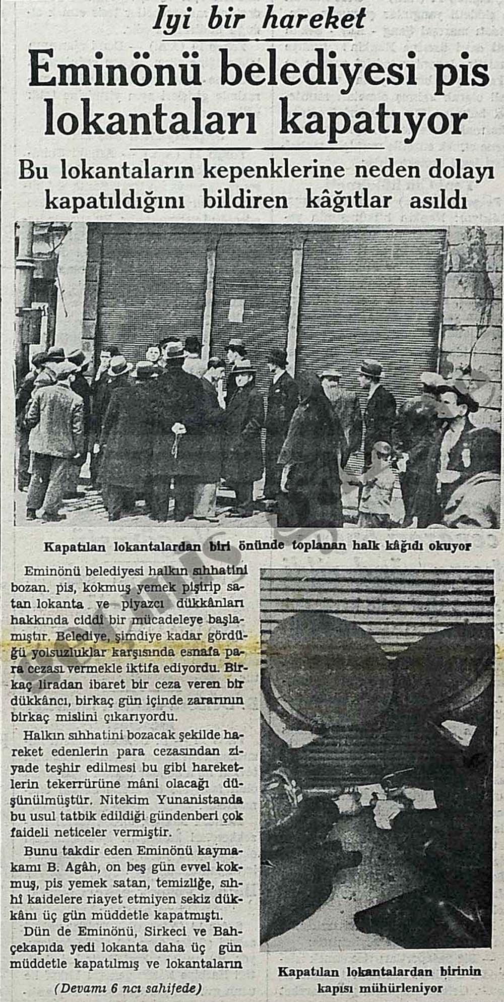Eminönü belediyesi pis lokantaları kapatıyor