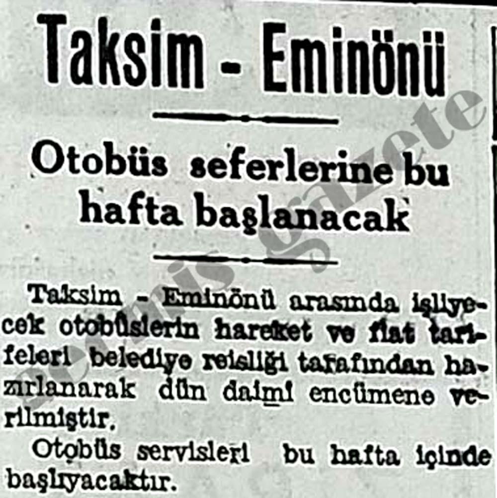 Taksim-Eminönü otobüs seferlerine bu hafta başlanacak