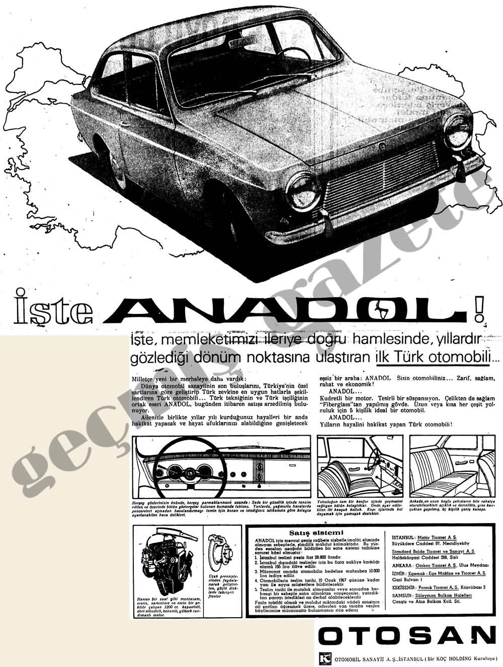 Bugün satışa çıkarılan yerli araba Anadol, 26 bin lira