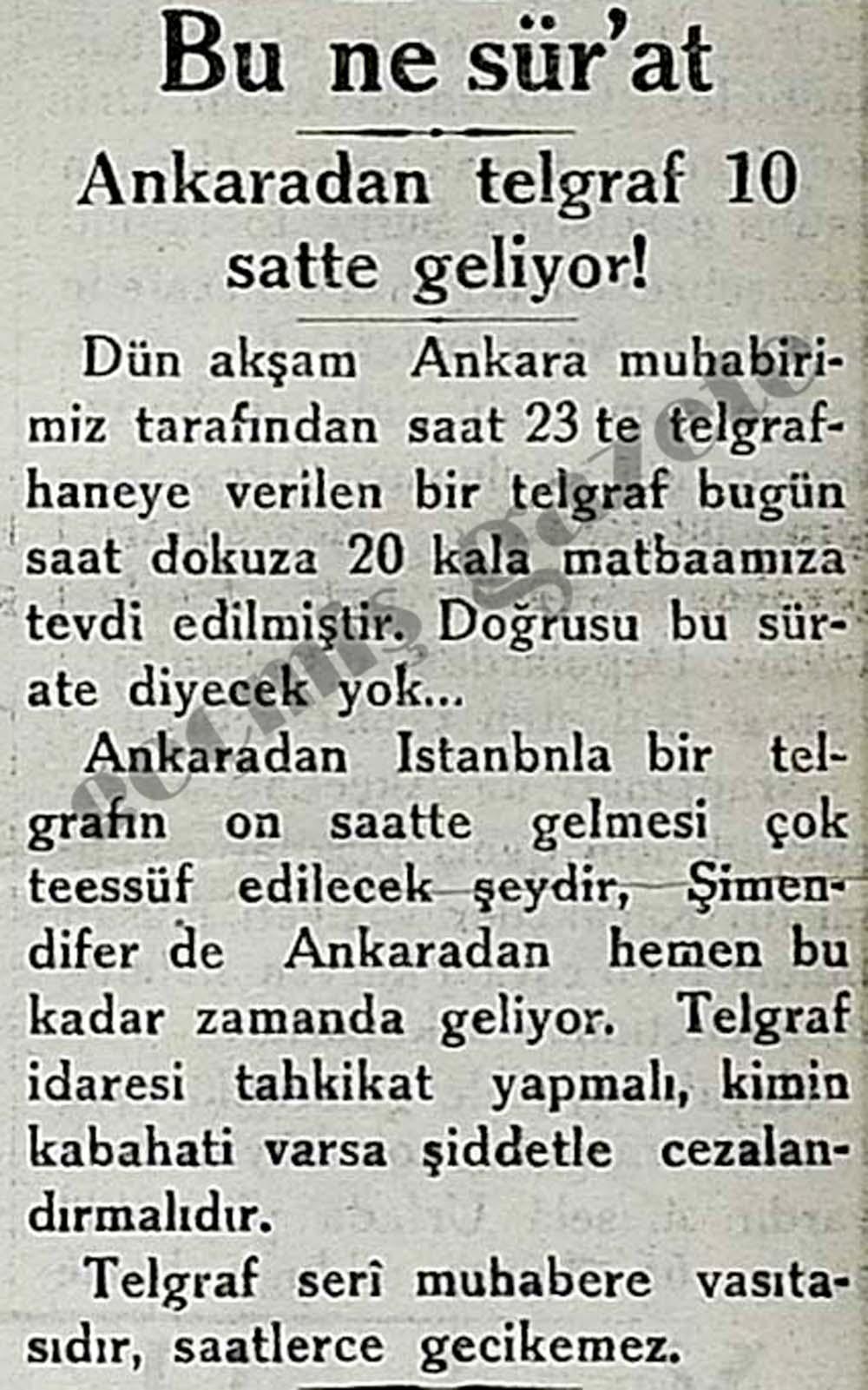 Ankaradan telgraf 10 satte geliyor!