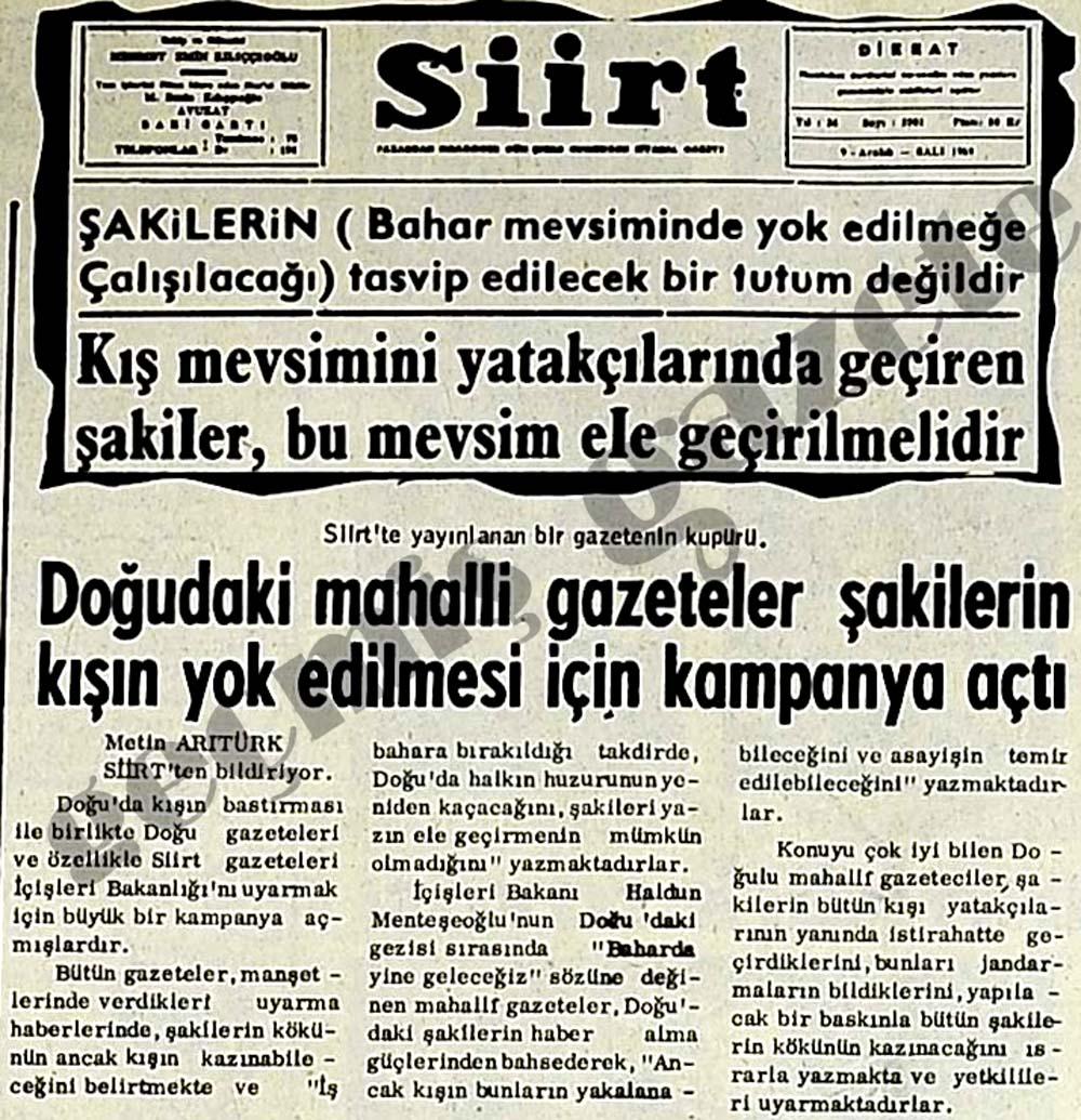 Doğudaki mahalli gazeteler şakilerin kışın yok edilmesi için kampanya açtı