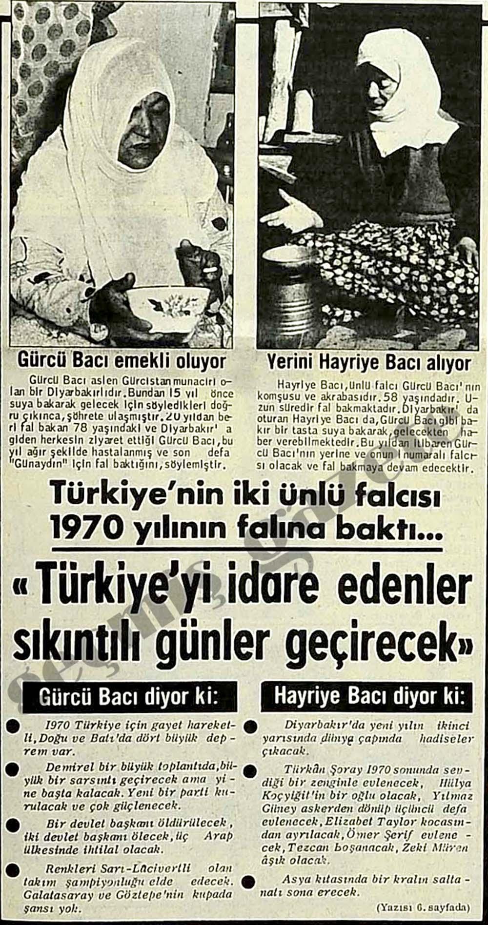 Türkiye'nin iki ünlü falcısı 1970 yılının falına baktı...