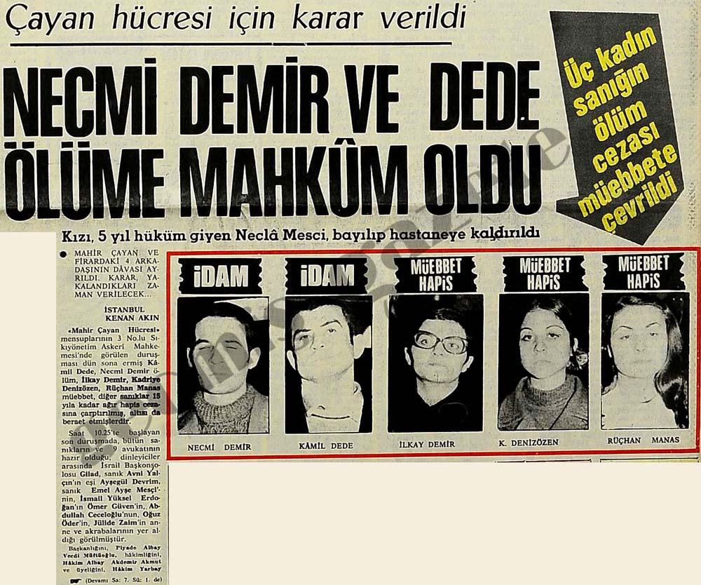 Necmi Demir ve Kamil Dede ölüme mahkum oldu