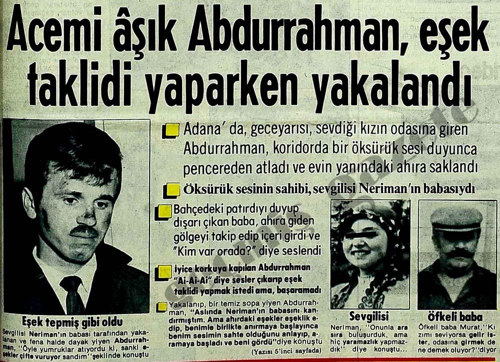 Acemi aşık Abdurrahman, eşek taklidi yaparken yakalandı