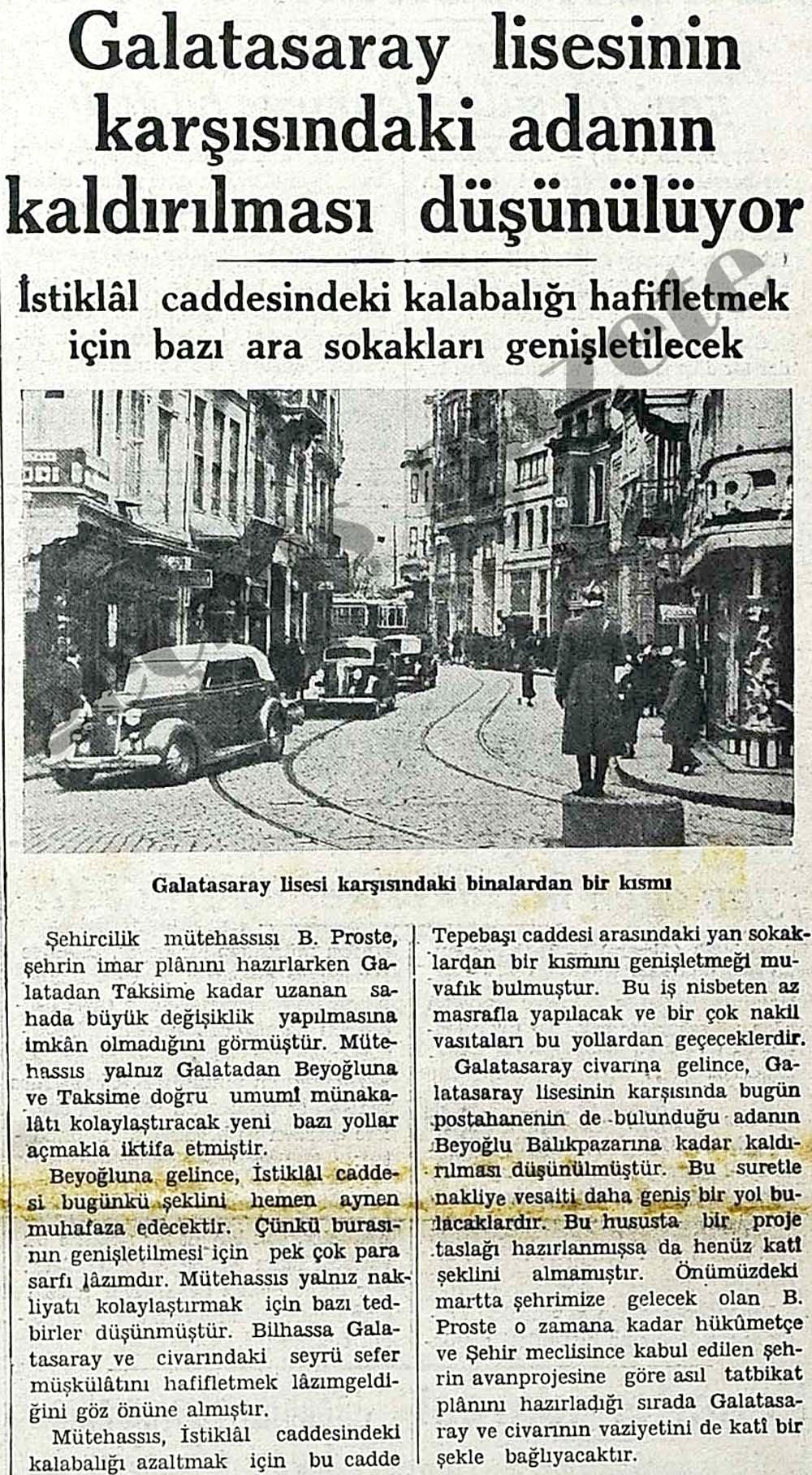 Galatasaray lisesinin karşısındaki adanın kaldırılması düşünülüyor