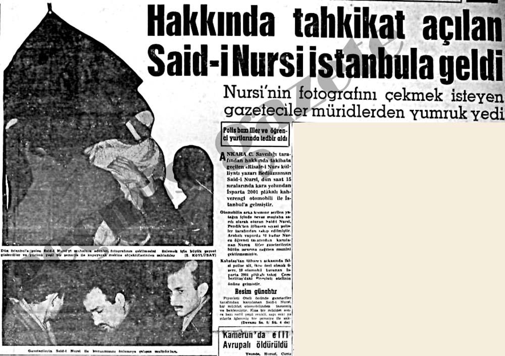 Hakkında tahkikat açılan Said-i Nursi İstanbula geldi