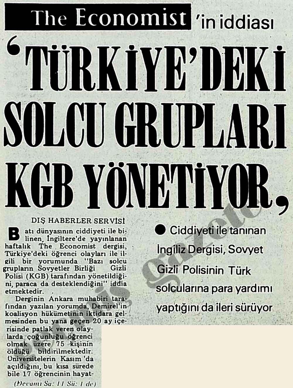 'Türkiye'deki solcu grupları KGB yönetiyor'
