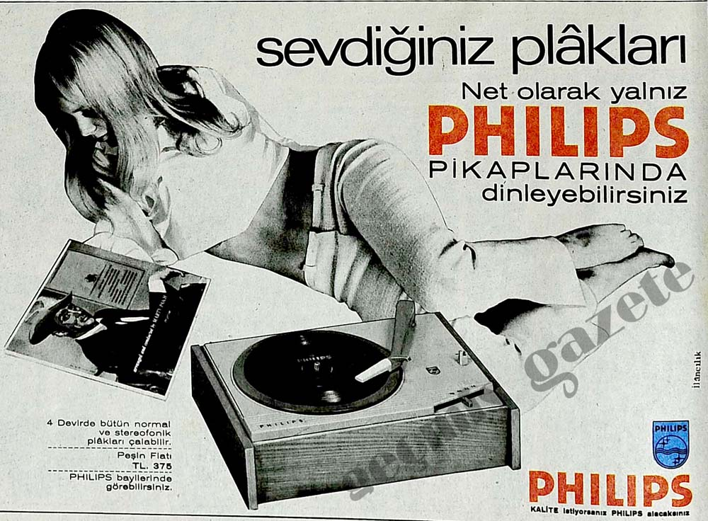 Sevdiğiniz plakları net olarak yalnız Philips Pikaplarında dinleyebilirsiniz