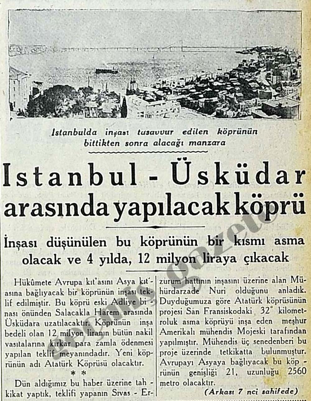 İstanbul-Üsküdar arasında yapılacak köprü