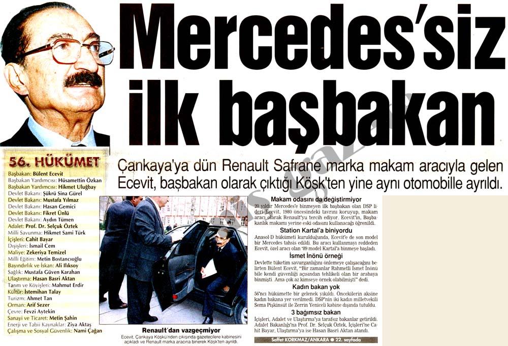 Mercedes'siz ilk başbakan