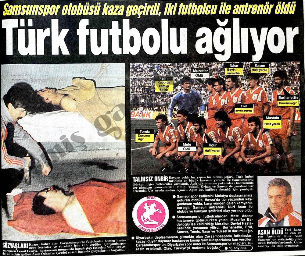 Samsunspor otobüsü kaza geçirdi, iki futbolcu ile antrenör öldü