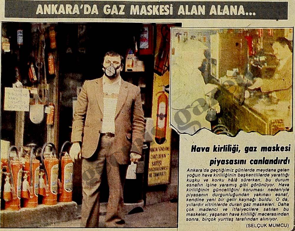Ankara'da gaz maskesi alan alana...