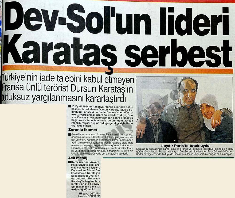 Dev-Sol'un lideri Karataş serbest