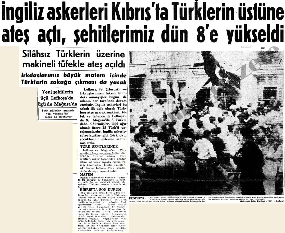 İngiliz askerleri Kıbrıs'ta Türklerin üstüne ateş açtı, şehitlerimiz dün 8'e yükseldi