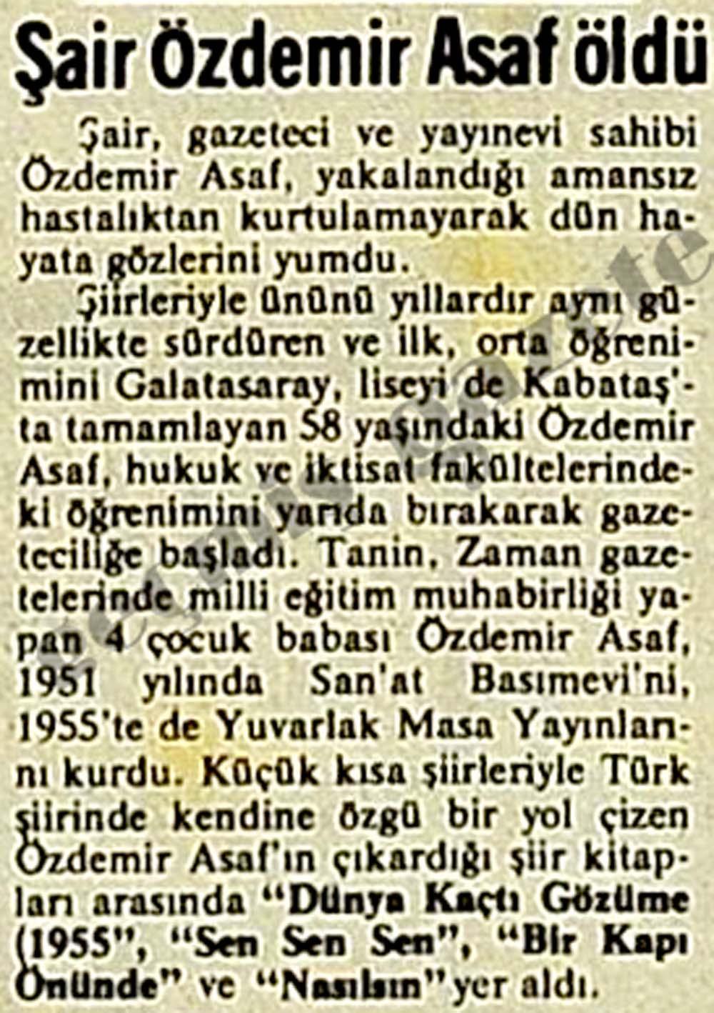 Şair Özdemir Asaf öldü