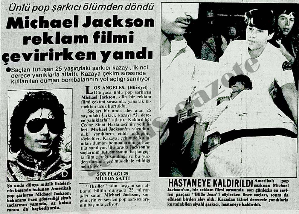 Michael Jackson reklam filmi çevirirken yandı