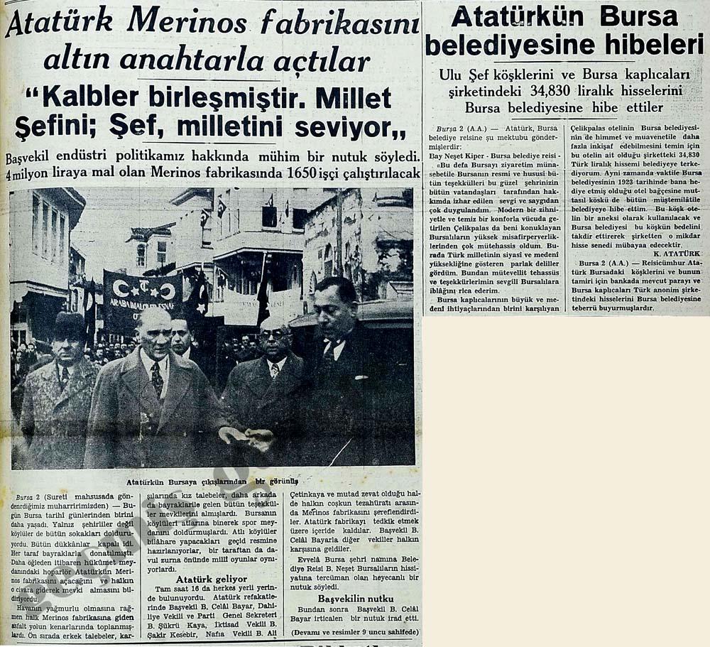 Atatürk Merinos fabrikasını altın anahtarla açtılar